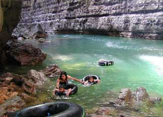 Taking the plunge in the natural pool, Cukang Taneuh