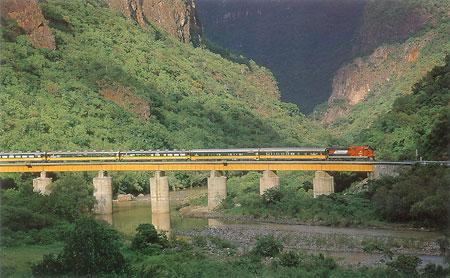 El Chepe-Caopper Canyon Train-MX-train crossing bridge