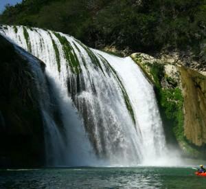 Kayaking the exhilarating Micos River, Huasteca Region, Mexico.