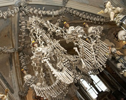 The chandelier is supposedly made with all the bones in the human body.