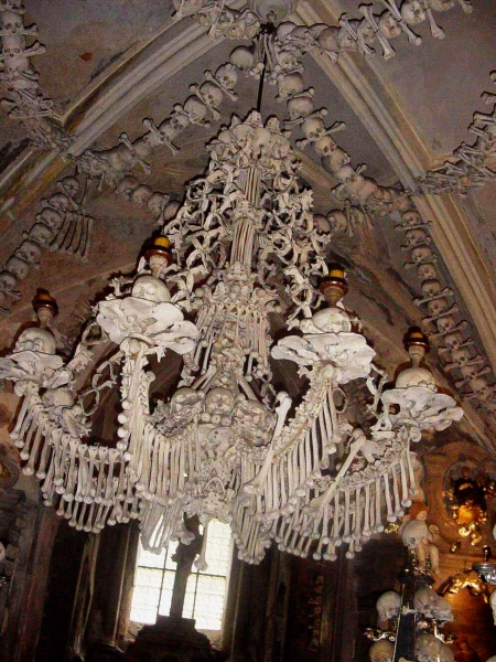 Bizarre chandeliers, made of human bones. Rare sight indeed!