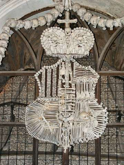An intricate coat of arms made entirely of human bones.