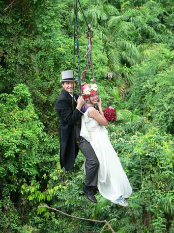Holy Matrimony goes to new heights, for an adventure worth a lifetime of memories. Especially on this special day! Photo: Langkawi Canopy Adventure
