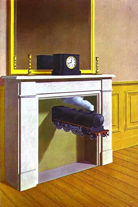 "René Magritte: ""La Durée Poignardée,"" 1938. Oil on canvas. Art Institute of Chicago, Chicago, IL, USA"