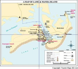 Map of Lamu and Manda Islands