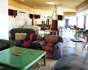 Explora Atacama-Hotel de Larache-CHILE-A cool and spacious lobby which exemplifies Explora's luxurious, yet simple style.